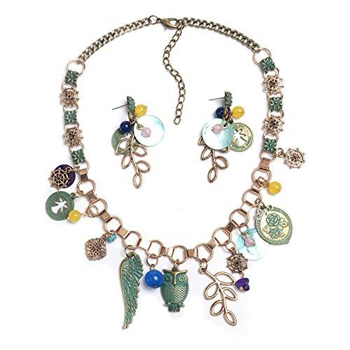 QXLDM Frauen Schmuck Halskette Necklaces halsketten Wenige ethnische Perlen Halskette Retro Legierung farbige Perlen Tandem Juwel Artikel,