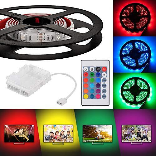 Kreema 4 x 30 cm RGB LED 5050 Streifen Licht Wasserdicht Batteriebetriebene Box mit 24 Tasten IR Controller für Indoor Outdoor Beleuchtung Dekoration - Streifen-licht-box
