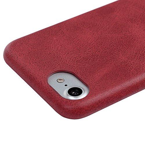 iPhone 7 Plus Hülle Case YOKIRIN Retro Streifen Hemming PU Leder Handyhülle Tasche Schutzhülle Flipcase Handy Schale Hardcase Bookcover Handytasche(Blondine) Rot