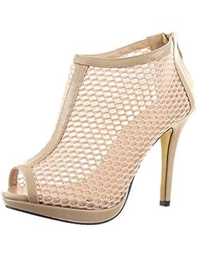 Sopily - Scarpe da Moda scarpe decollete Stivaletti - Scarponcini Stiletto Low boots alla caviglia donna fishnet...