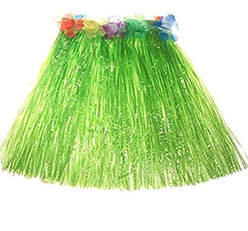 Milopon Hawaii Rock Bastrock Südsee Pazifik Hula Gras Skirt für Kinder Karneval Kostüm Party, Geburtstag, Feier40 cm (Grün)