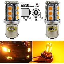 Paquete 2 - 1056 BAU15S 7507 12496 5009 Luz LED ámbar / Amarilla Extremadamente Brillante, 10-30V-DC Bombillo Sustitución AMAZENAR 5050 18 SMD Para Lámpara de Luz Trasera Luces de Giro