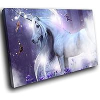 A738 Purple Trippy Unicorn Fairies Funky Animal Canvas Wall Art Picture Prints