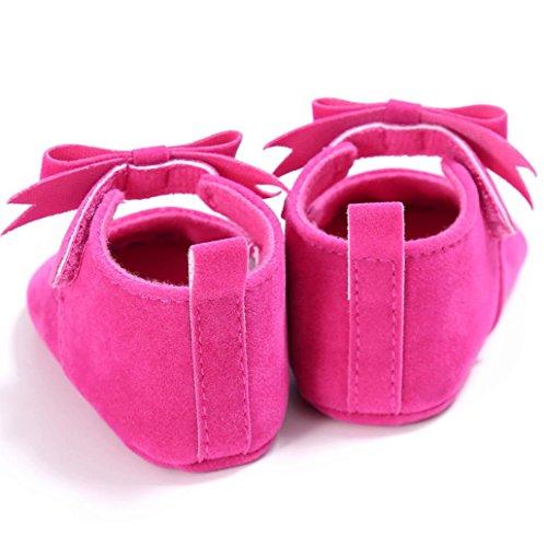 BZLine® Bowknot Tissu Chaussures de Premier Pas, à Couleur Unie Pour Bébés Filles 0-18Mois Rose