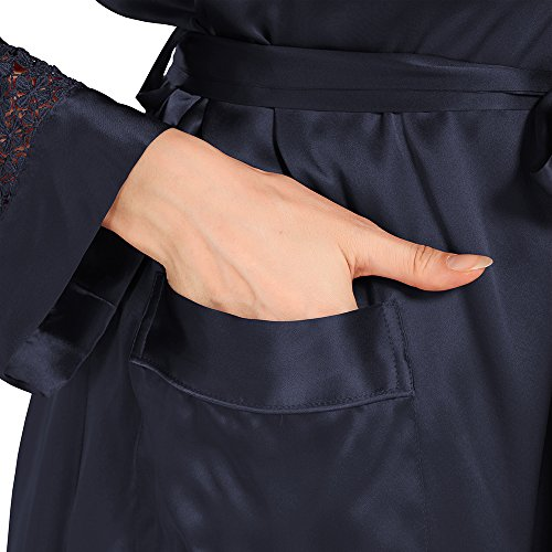 LILYSILK Robe de Chambre en Soie Femme 100% Soie 22 Momme Poignets Dentelle Bleu Marine