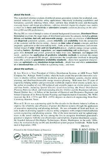 Distributed Power Generation (Power Engineering (Willis))