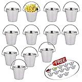 Kosma Set mit 12 Pc Edelstahl Pommes Chips Körbe | Eimer | Restaurant, das Gericht | Snacks Schaufel - 7 x 7 cm mit 12 PC-Sauce Cup