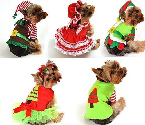 Mädchen Jungen Haustier Hund Katze Weihnachten Weihnachtsmann Elfen Geschenk Kostüm Kleid Outfit Kleidung XS-XL - Weihnachtsbaum, L