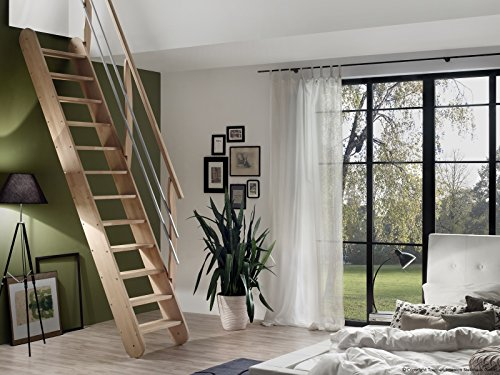 Intercon space-saving staircase Living made of solid wood beech or pine, variable tilt angle