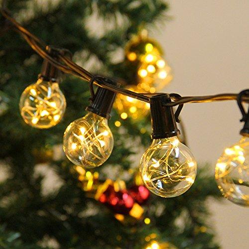 Lichterketten Aussen, LED Lichterkette 10M 30 Birne G40 Schnur Lichter Wasserdicht String Licht als Innen Außen Beleuchtung für Hochzeit Garten Party Haus mit Ersatzbirne