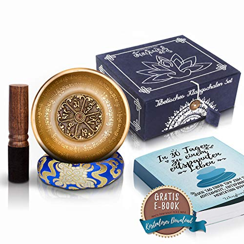 Original Tibetisches Klangschalen Geschenk Set 14cm Premium + gratis eBook - Handgefertigt aus Nepal - Lokta Box mit Klangschalenkissen & Klöppel - Singing Bowl von Wayford für Meditation Entspannung