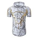 GreatestPAK T-Shirt Sommer Herren Print Top Pullover Kapuzen Bluse Kurzarm Persönlichkeit Shirts,Weiß,L