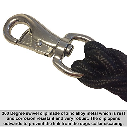BRIFIELD-HEAVY-DUTY-STRONG-Nylon-Braided-Dog-Lead-In-Black-Colour-13M-Length-1-Inch-Diameter-8-Strands-Of-Thick-Strong-Nylon-Braids-Large-Metal-360-Degree-Swivel-Clip-SUITABLE-FOR-LARGE-DOGS-ONLY-Can-