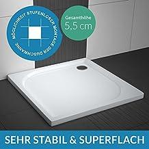 Duschwanne / Duschtasse AQUABAD® Comfort Praktica | Maße: 90x90cm quadratisch | Sehr stabil und flach