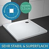 Duschwanne / Duschtasse AQUABAD® Comfort Praktica | Maße: 80x80cm quadratisch | Sehr stabil und flach