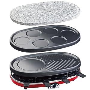 H.Koenig RP418 Raclette-Grill 4 in 1 (1500 Watt, Raclette, Steingrill, Crêpe Platte und Grill) schwarz/rot