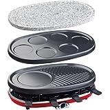 H.Koenig RP418 - Raclette-grill 4 en 1 para 8 personas, 1500 W
