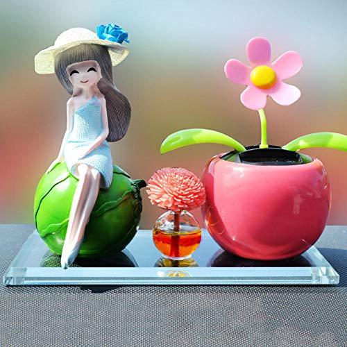JIANG Dekoration Auto Autozubehör Auto Parfüm Sitz Mittelkonsole Parfüm Auto Parfüm Kopf schütteln Sonne Blume Frucht Schönheit Auto grüne Blume Erdbeerpuppe, rosa Blume - Schönheits-frucht