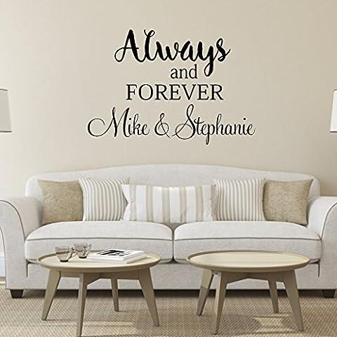 Always and Forever autocollant mural en vinyle Inscription personnalisée mur mots Love en Master mariage chambre Decor Sticker mural