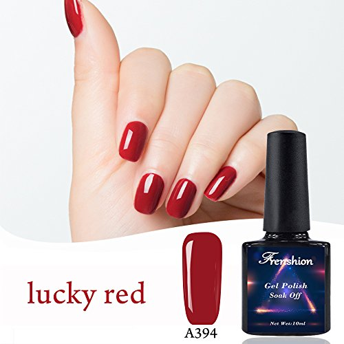 Frenshion 10ml Soak-off UV LED Gel smalto per unghie Gel 3D disegni per durevole duraturo Nail Art Lucky Red A394
