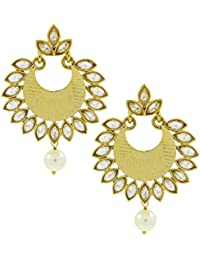 The Jewelbox Dainty Chandbali Pearl Kundan American Diamond Antique Gold Plated Earring For Women
