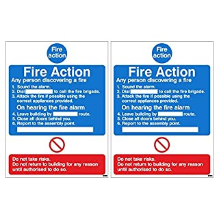 Pack of 2 x Fire Action Signs. Points to follow for any person discovering a fire. 150mm x 200mm (1mm Thick Rigid Plastic)