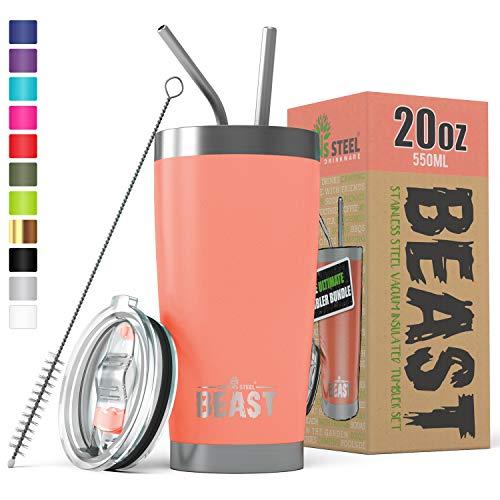 (Greens Steel New Beast Tumbler Edelstahl Vakuum Isoliert Rambler Kaffee Tasse Doppelwandige Reise Fläschchen (20oz, Blühen))