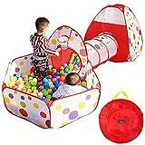 GOTOTOP 3en1 Tente Tunnel Jeu + Piscine à Balles Jouet Enfant avec Balles Colorées...