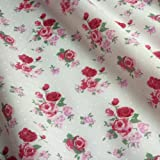 Light Ivory Polka Dot Polycotton Fabric with Pink Roses (Per Metre)