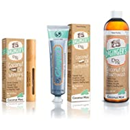 Doctor Ginger's Dr Ginger'S Coconut Oil Pulling Toothpaste, Mouthwash, Whitening Gel Pen (Natural + No Sugar, Fluoride, Or Artificial Flavors) Coconut Mint, 3-Piece Set