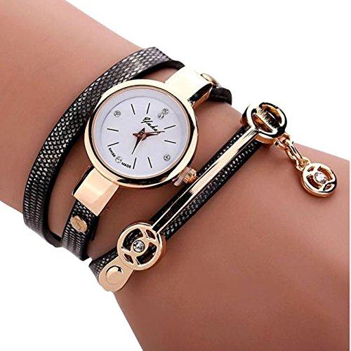 Sonnena Unisex Armbanduhren, Mode Ultra-flach Metallband Armbanduhr Damenuhr Lederband Uhren Wrist watch Frauen Outdoor Klassik Analoge Quarz Armband Handgelenk Uhr (Schwarz)