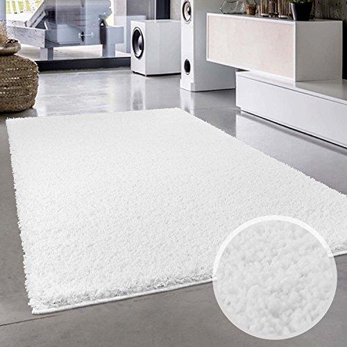 Shaggy-Teppich, Flauschiger Hochflor Wohn-Teppich, Einfarbig/Uni in Weiß für Wohnzimmer,...