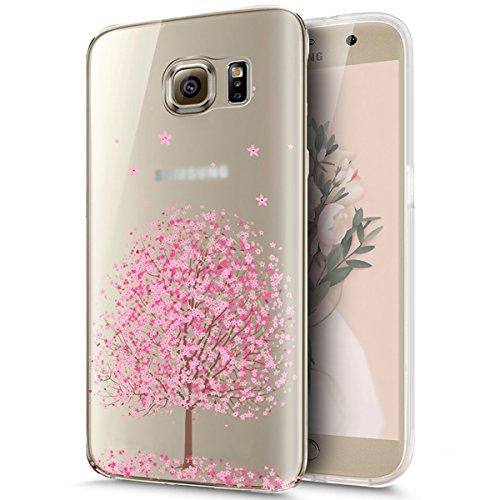 Kompatibel mit Galaxy S6 Edge Plus Hülle,Kirschblüte Blumen Cherry Blossom Muster Weich TPU Silikon Hülle Handyhülle Tasche Durchsichtig Handy Hülle Schutzhülle für Galaxy S6 Edge Plus,Kirschblüte #6