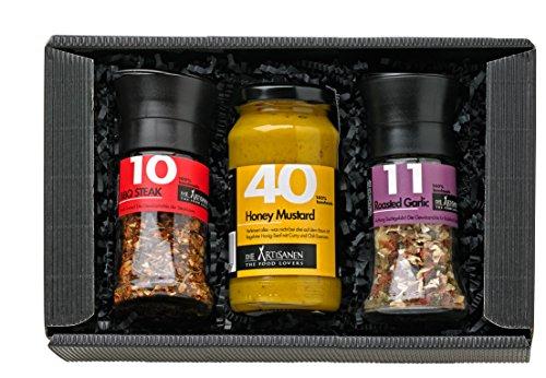 51KVDOrrwHL - GRILLFREUND BBQ Geschenk für Männer - Geschenkkorb inklusive Handmade Honig Senf Sauce und Grillgewürze - Grill Zubehör – Grill Gewürze Set
