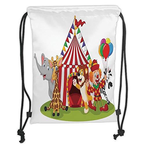 Trsdshorts Drawstring Backpacks Bags,Circus Decor,Cartoon Happy Animal Circus and Clown Zebra Giraffe Animals Lion Nostalgia, Soft Satin,5 Liter Capacity,Adjustable String Closure,The Stylish