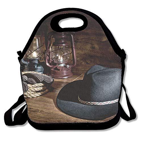 VTXWL Western American Rodeo Equipment with Cowboy Felt Hat Ranching Tools Lanterns Lunch Tote Lunch Bag Office Mid-Sized (Pack Western Tote)