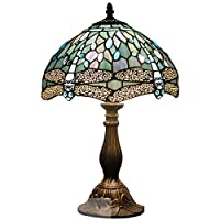 Tiffany Lamp Sea Blue Stained Glass and Crystal Bead Dragonfly Style Table Lamps Height 18 Inch For Living Room Antique Desk Beside Bedroom (S147)