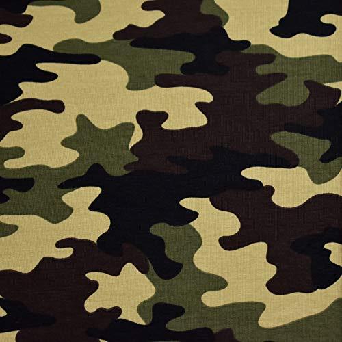 MAGAM-Stoffe Camouflage French Terry Sweat Stoff Oeko-Tex Meterware 50cm (Grün) -