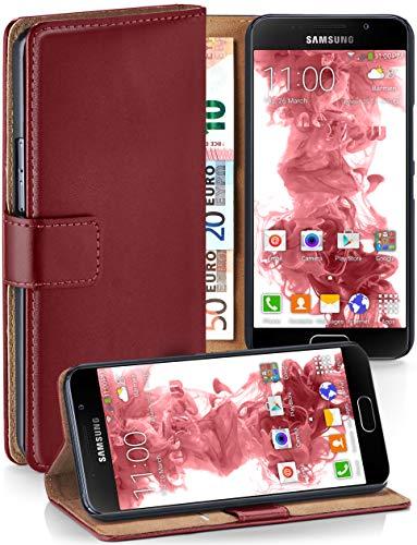 MoEx® Booklet mit Flip Funktion [360 Grad Voll-Schutz] für Samsung Galaxy A5 (2016) | Geldfach und Kartenfach + Stand-Funktion und Magnet-Verschluss, Dunkel-Rot