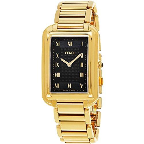 Fendi Men's Gold Tone Steel Bracelet & Case Swiss Quartz Black Dial Analog Watch F701411000