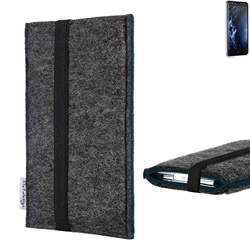 flat.design Handyhülle Lagoa für Doogee Y6 4G | Farbe: anthrazit/blau | Smartphone-Tasche aus Filz | Handy Schutzhülle| Handytasche Made in Germany