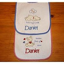 PRIMERAEDAD/ Pack 2 baberos rizo plastificados y personalizados con el nombre del bebé