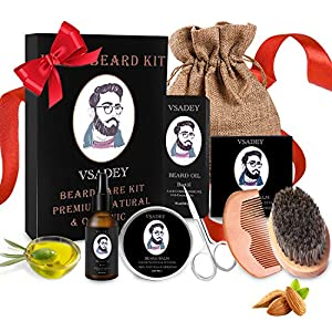 Bartpflege Set für Männer Wildschweinborsten Bartbürste Bartkamm Bartöl Bartbalsame Bartschere Reisetasche Bartpflegeset Geschenk
