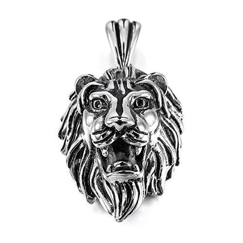 Trifycore Colgante de Collar de la Cabeza de los Hombres de Acero del Estilo Punky gótica del cráneo León Inoxidable con Cadena de Plata de 23 Pulgadas, Joyas