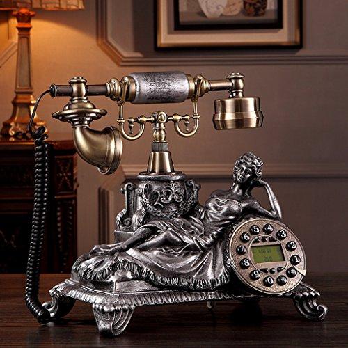 LINGZHIGAN Resin Metall Old Style Retro Festnetz Telefon Telefon Drehen verdrahtet Home Decorations Kreative Moderne Geschenk Schlafzimmer Restaurant Wohnzimmer Einfach und praktisch