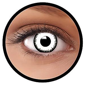 """Farbige Kontaktlinsen weiß""""Vampir"""" MIT STÄRKE   Ideal für Halloween, Karneval, Fasching oder Fastnacht   Inklusive Behälter von FXEYEZ   In verschiedenen Stärken als 2er Pack"""