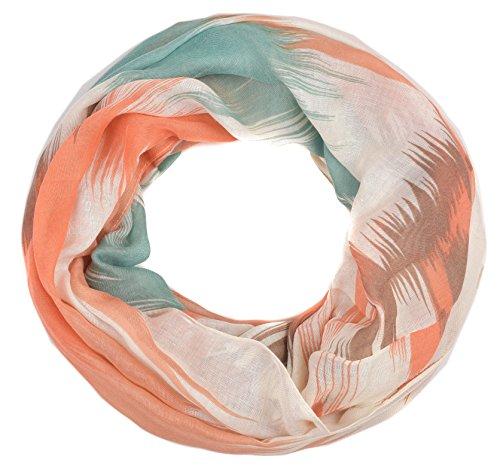 INTERMODA Farbverlauf Loop Schal I Leichter Schlauchschal bunt Batik Muster I feines elegantes Hals Tuch I Loop Schal Damen Sommer Rosa Grün Koralle Mintgrün