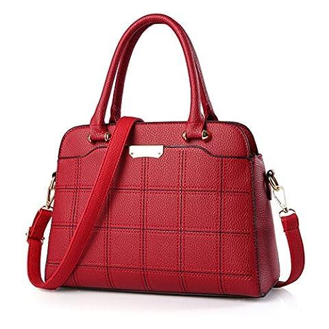 Wewod Neue Einfach koreanische Damen Einfarbig Gitter Prägung Diagonalen Handbag Mädchen Handtaschen Schulter Messenger Bag (Rot-a)