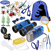 Anpro 25pcs Explorer Kit, Bug Catcher Kit for Kids, Butterfly Kit, Outdoor Adventure Kit including Binoculars, Compass, Flashlight - Blue