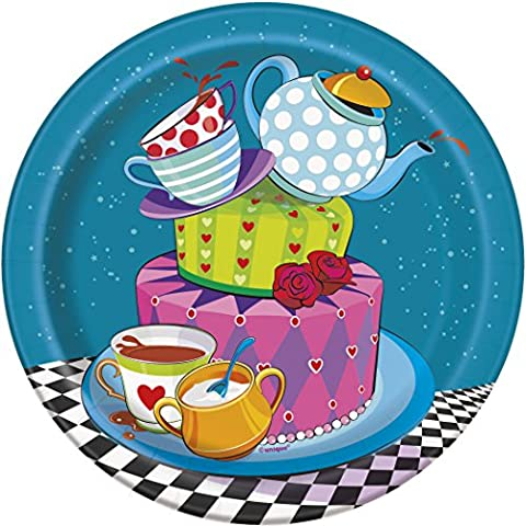 18cm Mad Hatters Tea Party Plates, Pack of 8